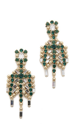 Dannijo Hilaria Earrings - Emerald/Clear/Gold