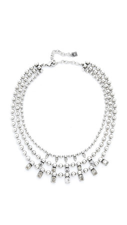 Dannijo Jovian Necklace - Clear/Ox Silver