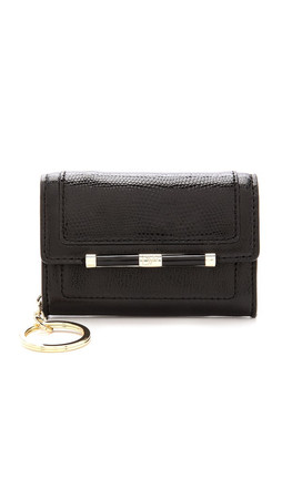 Diane Von Furstenberg 440 Flap Card / Key Holder - Black