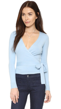 Diane Von Furstenberg Ballerina Wrap Sweater - Blue Cloud