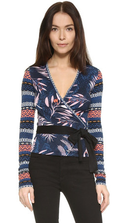 Diane Von Furstenberg Ballerina Wrap Sweater - Snake Leaves New Indigo
