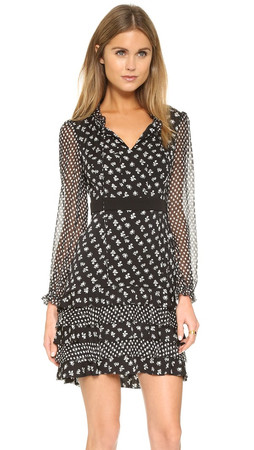 Diane Von Furstenberg Fionna Dress - Daisy Buds Tiny Black/Dotted B