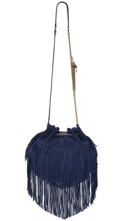 Diane Von Furstenberg Love Power Large Suede Fringe Bag - Dark Night