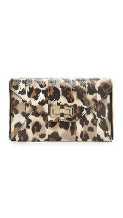 Diane Von Furstenberg Secret Agent Zip Out Clutch - Vintage Leopard