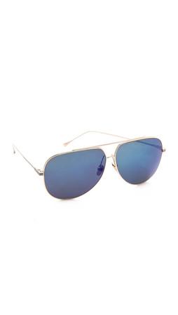 Dita Condor Aviator Sunglasses - White Gold/Blue Mirror