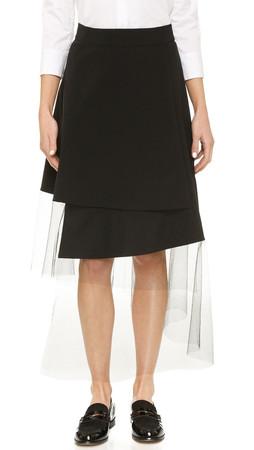 Dkny Asymmetrical Midi Skirt - Black