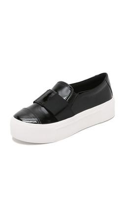 Dkny Banner Bow Slip On Sneakers - Black