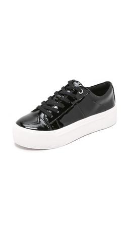 Dkny Bari Platform Lace Up Sneakers - Black