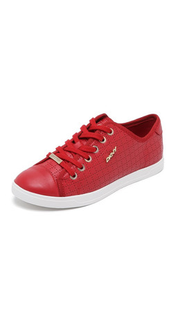 Dkny Blair Lace Up Sneakers - Runway Red