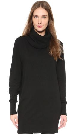 Dkny Cowl Neck Long Sleeve Tunic - Black