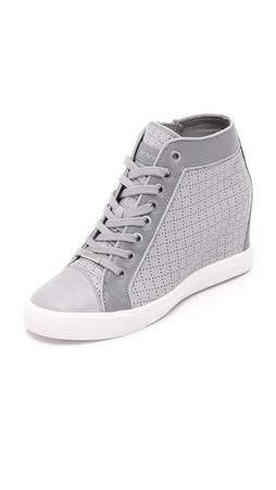 Dkny Cresta Wedge Sneakers - Grey/Charcoal