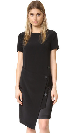 Dkny Dress With Front Wrap - Black/Scarlet