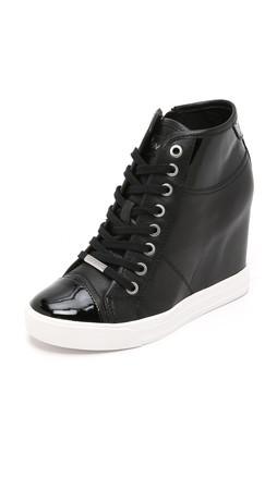 Dkny Grommet Zip Wedge Sneakers - Black
