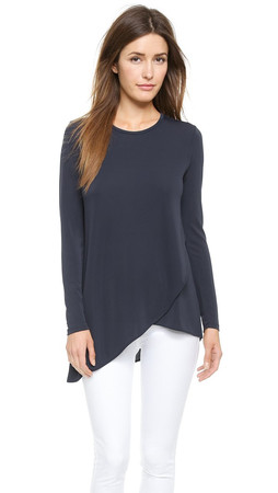 Dkny Long Sleeve Tee With Layered Front - Midnight Navy