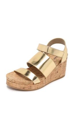 Dkny Lora Cork Wedge Sandals - Gold