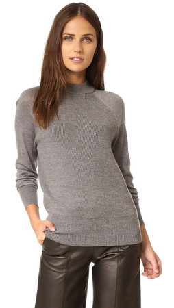 Dkny Pure Dkny Ribbed Pullover With Jersey Sleeves - Flint Heather