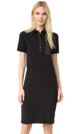Dkny Short Sleeve Collared Dress - Black