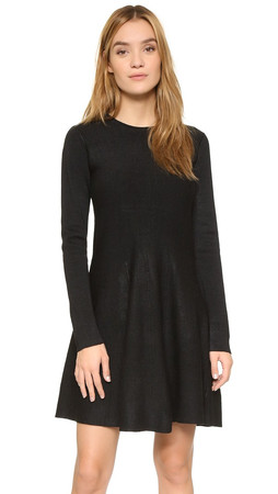 Dkny Textured Knit Skater Dress - Black