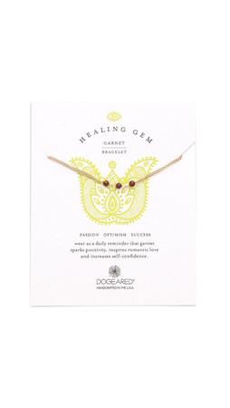 Dogeared Healing Gem Garnet Bracelet - Gold/Red