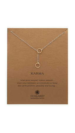 Dogeared Karma Double Circle Adjustable Lariat Necklace - Gold