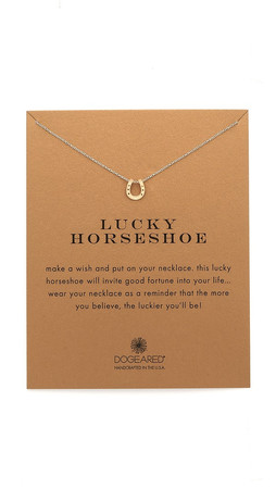 Dogeared Lucky Horseshoe Charm Necklace - Gold