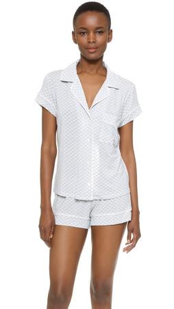 Eberjey Cabana Girl Short Sleeve Pj Set - Chambray