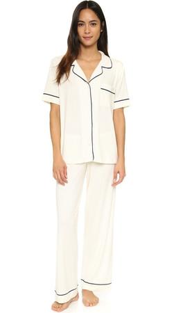 Eberjey Gisele Short Sleeve Pj Set - Ivory/Navy