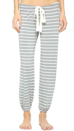 Eberjey Lounge Stripes Cropped Pants - Sage Grey
