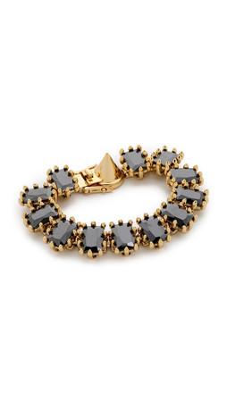 Eddie Borgo Small Rectangle Estate Bracelet - Gold/Jet