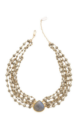 Ela Rae 6 Strand Multi Choker Necklace - Pyrite/Labradorite