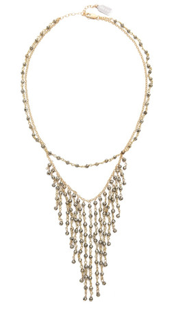 Ela Rae Double Fringe Necklace - Pyrite