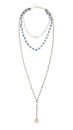 Ela Rae Three In One Layered Necklace - Aquamarine/Kyanite