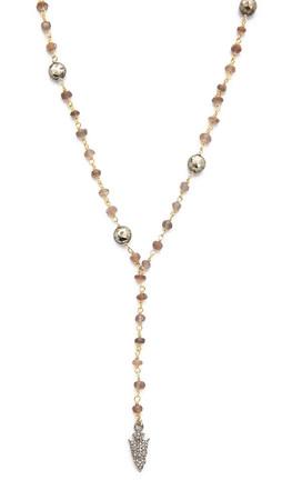 Ela Rae Yaeli Y Arrowhead Diamond Necklace - Brown Moonstone/Pyrite