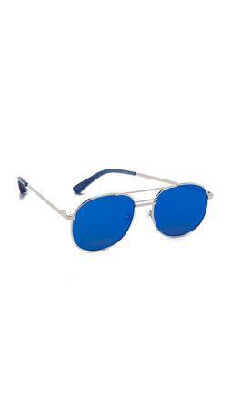 Elizabeth And James Watts Flat Lens Sunglasses - Silver/Blue