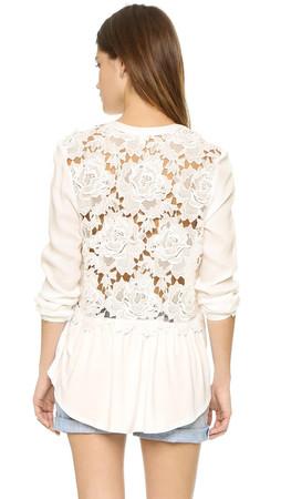 Ella Moss Crescent Floral Tie Front Blouse - Natural