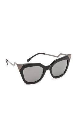 Fendi Mirrored Corner Accent Sunglasses - Black/Black Mirror