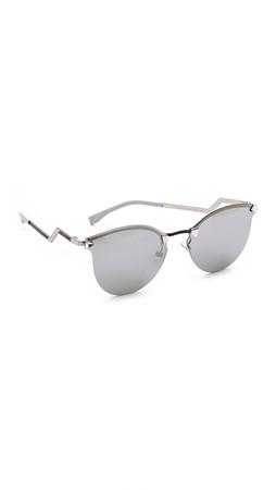 Fendi Iridia Rimless Bottom Sunglasses - Palladium/Silver Mirror