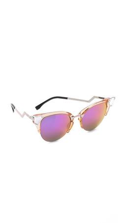 Fendi Iridia Crystal Corner Sunglasses - Trans Print Peach/Multi Pink