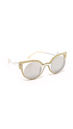 Fendi Round Cutout Sunglasses - Glitter White/Silver
