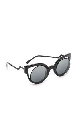 Fendi Round Cutout Sunglasses - Matte Shiny Black/Dark Grey