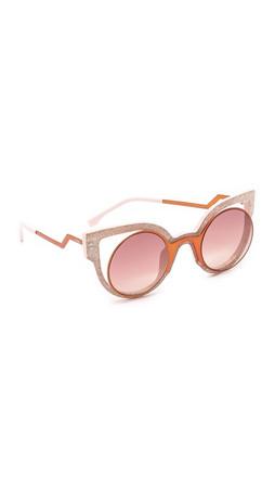 Fendi Round Cutout Sunglasses - Orange Glitter Pink/Red