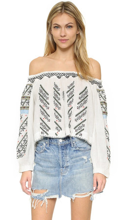 Free People All I Need Embroidered Blouse - Ivory Combo
