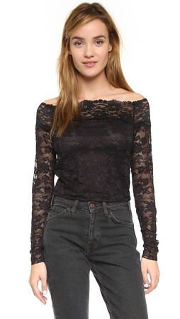 Free People Barely There Lace Top - Black
