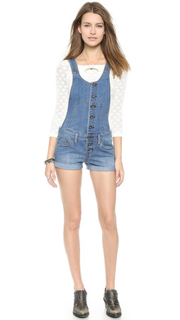 Free People Century Button Front Shortalls - Willow