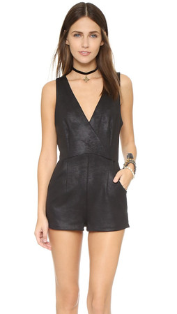 Free People Coated Knit Black Moonlight Romper - Black