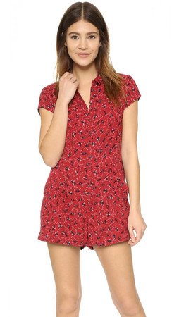 Free People Debby Dot Romper - Red Combo