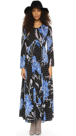 Free People First Kiss Printed Maxi Dress - Botanical Night