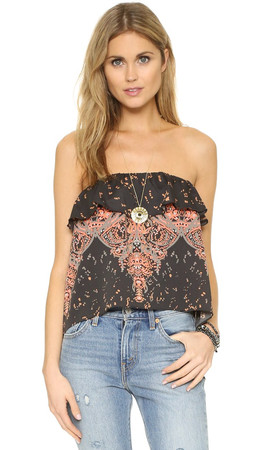 Free People Flounce Tube Top - Black Combo