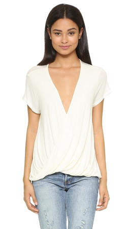 Free People Hoffman Draped Tee - Ivory