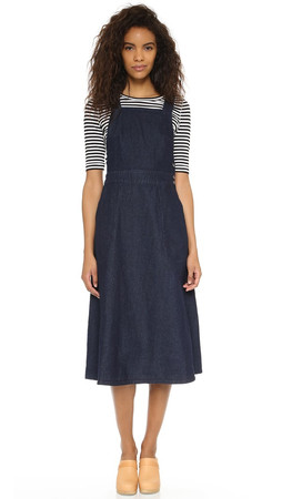 Free People Indigo Denim Apron Dress - Rinse Wash